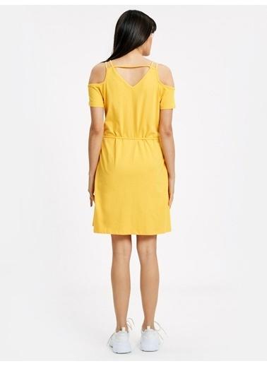 LC Waikiki Omuzları Açık Pamuklu Elbise Sarı